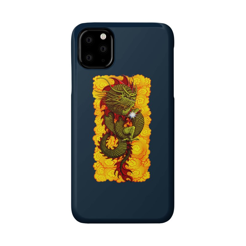 Green Thinker Dragon (Draco Excogitatoris) in the Clouds of Fire Accessories Phone Case by Joe Abboreno's Artist Shop