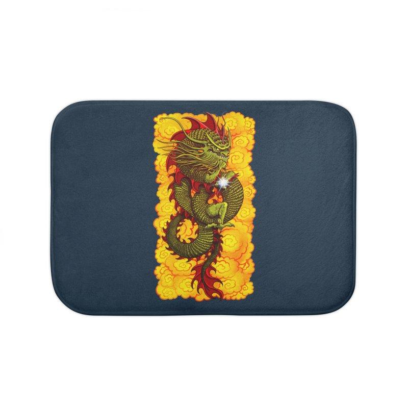 Green Thinker Dragon (Draco Excogitatoris) in the Clouds of Fire Home Bath Mat by Joe Abboreno's Artist Shop