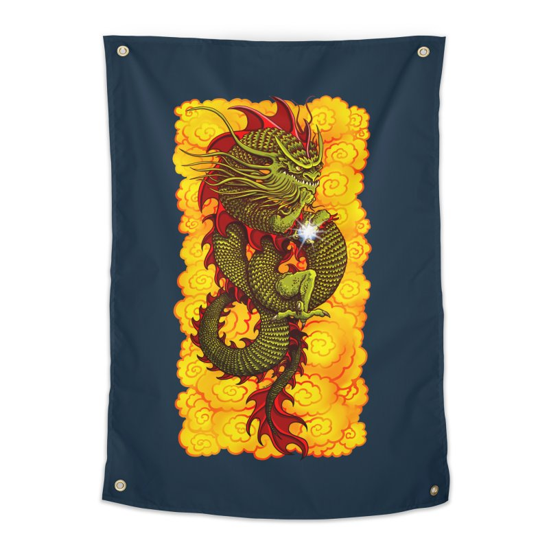 Green Thinker Dragon (Draco Excogitatoris) in the Clouds of Fire Home Tapestry by Joe Abboreno's Artist Shop
