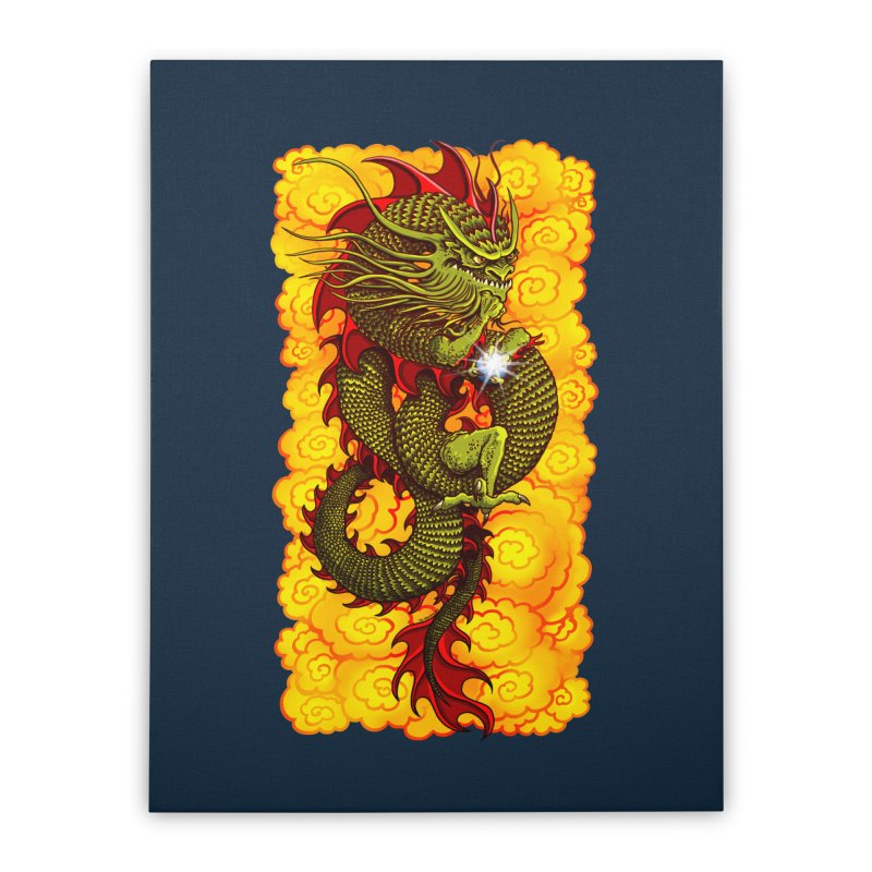 Green Thinker Dragon (Draco Excogitatoris) in the Clouds of Fire Home Stretched Canvas by Joe Abboreno's Artist Shop
