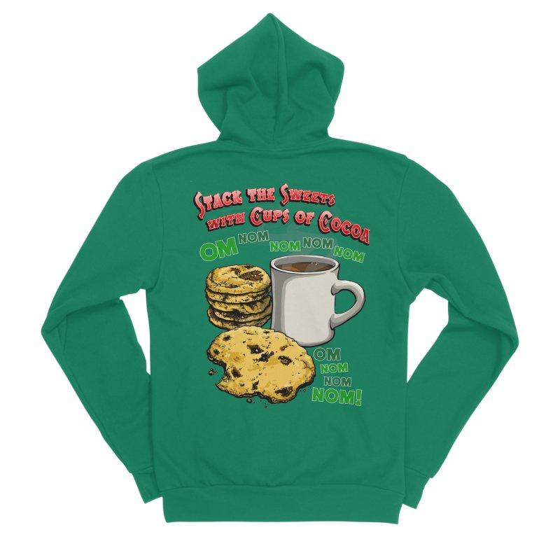 Stack the Sweets with Cups of Cocoa Women's Sponge Fleece Zip-Up Hoody by Joe Abboreno's Artist Shop