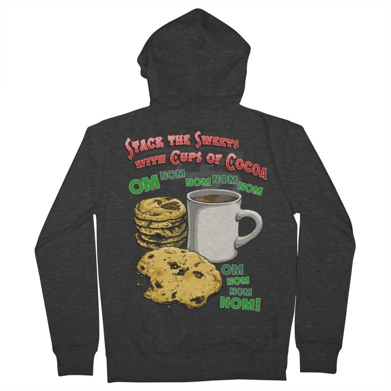 Stack the Sweets with Cups of Cocoa Men's French Terry Zip-Up Hoody by Joe Abboreno's Artist Shop