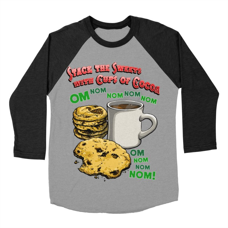 Stack the Sweets with Cups of Cocoa Women's Baseball Triblend Longsleeve T-Shirt by Joe Abboreno's Artist Shop