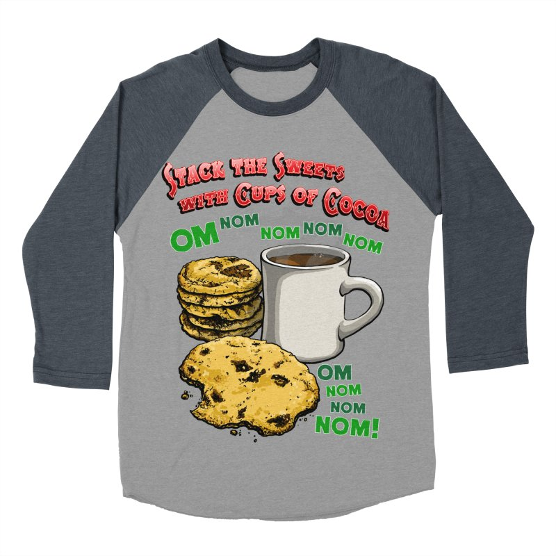 Stack the Sweets with Cups of Cocoa Men's Baseball Triblend Longsleeve T-Shirt by Joe Abboreno's Artist Shop