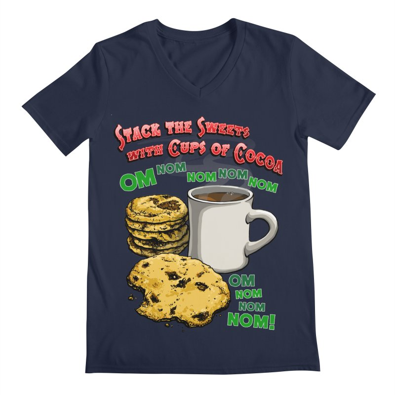 Stack the Sweets with Cups of Cocoa Men's Regular V-Neck by Joe Abboreno's Artist Shop