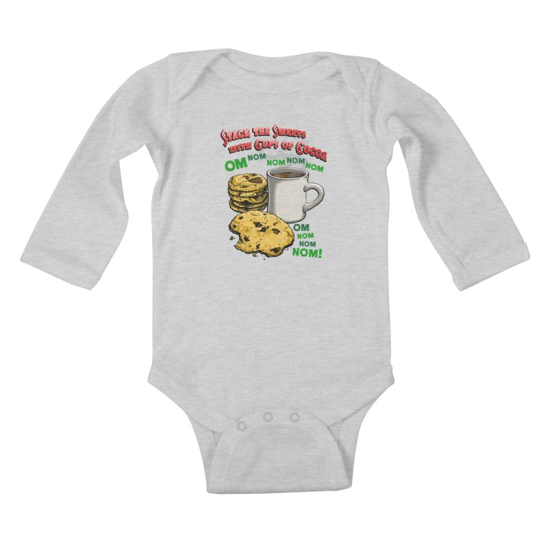 Stack the Sweets with Cups of Cocoa Kids Baby Longsleeve Bodysuit by Joe Abboreno's Artist Shop