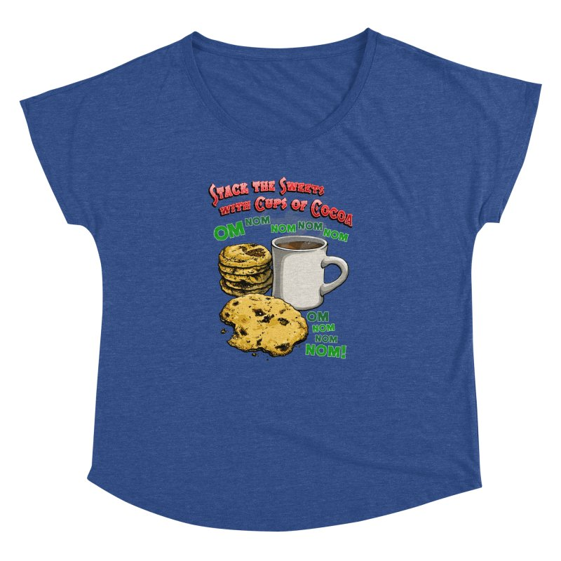 Stack the Sweets with Cups of Cocoa Women's Dolman Scoop Neck by Joe Abboreno's Artist Shop