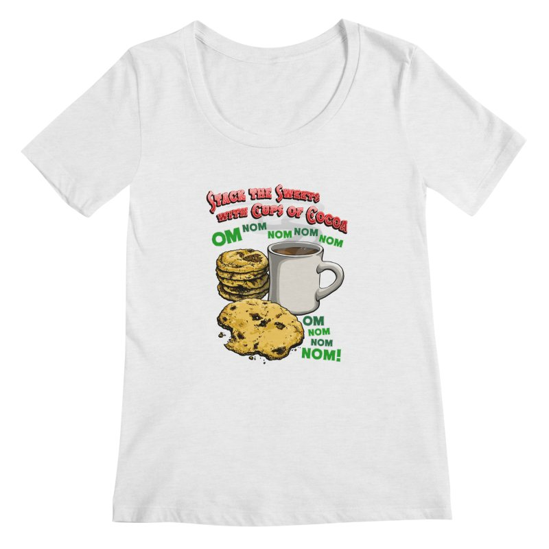 Stack the Sweets with Cups of Cocoa Women's Regular Scoop Neck by Joe Abboreno's Artist Shop