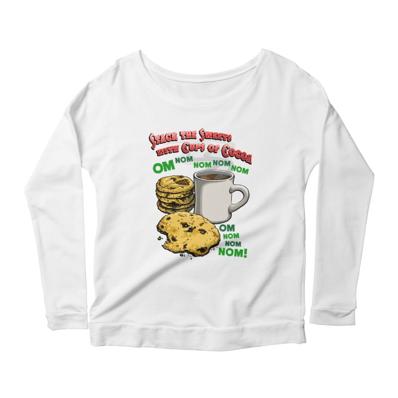 Stack the Sweets with Cups of Cocoa Women's Scoop Neck Longsleeve T-Shirt by Joe Abboreno's Artist Shop