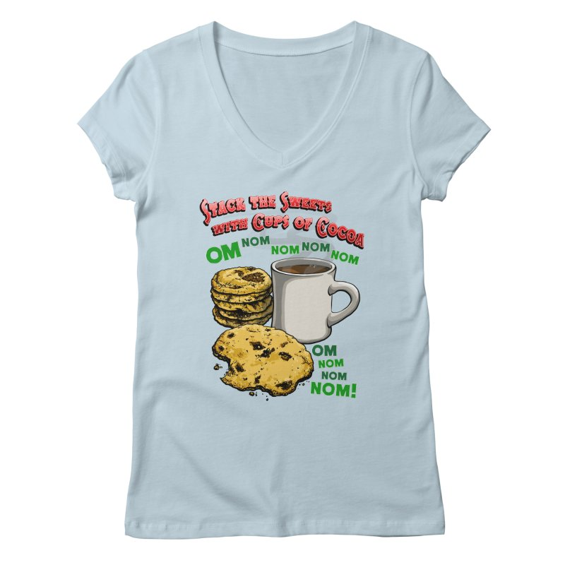 Stack the Sweets with Cups of Cocoa Women's Regular V-Neck by Joe Abboreno's Artist Shop