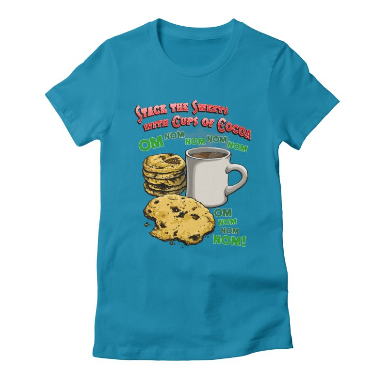 Stack the Sweets with Cups of Cocoa Women's Fitted T-Shirt by Joe Abboreno's Artist Shop