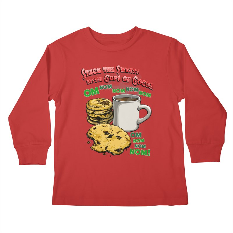 Stack the Sweets with Cups of Cocoa Kids Longsleeve T-Shirt by Joe Abboreno's Artist Shop