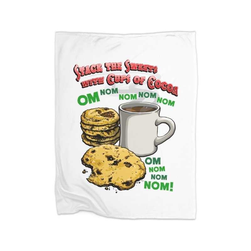 Stack the Sweets with Cups of Cocoa Home Fleece Blanket Blanket by Joe Abboreno's Artist Shop