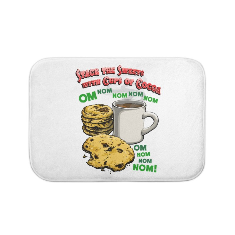 Stack the Sweets with Cups of Cocoa Home Bath Mat by Joe Abboreno's Artist Shop