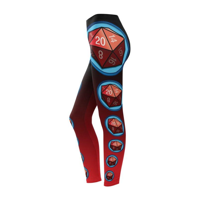 Women's Red d20 Leggings Women's Bottoms by Joe Abboreno's Artist Shop