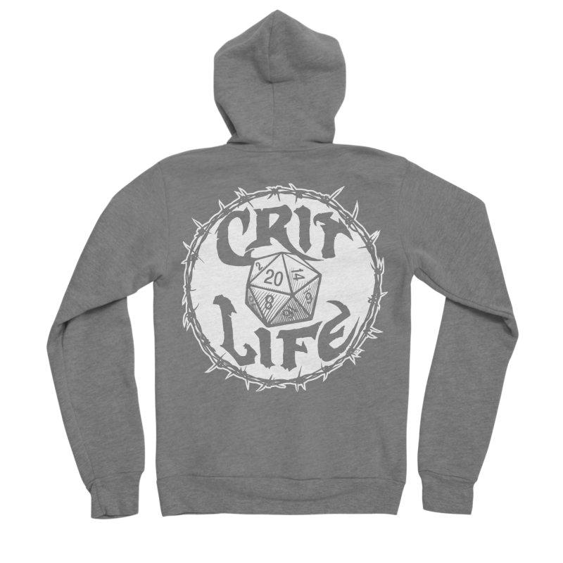 Crit Life (Light on Dark) Men's Sponge Fleece Zip-Up Hoody by Joe Abboreno's Artist Shop