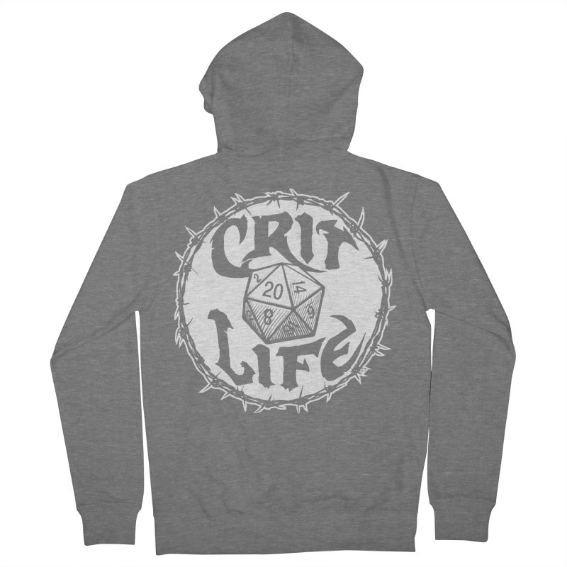 Crit Life (Light on Dark) Men's French Terry Zip-Up Hoody by Joe Abboreno's Artist Shop