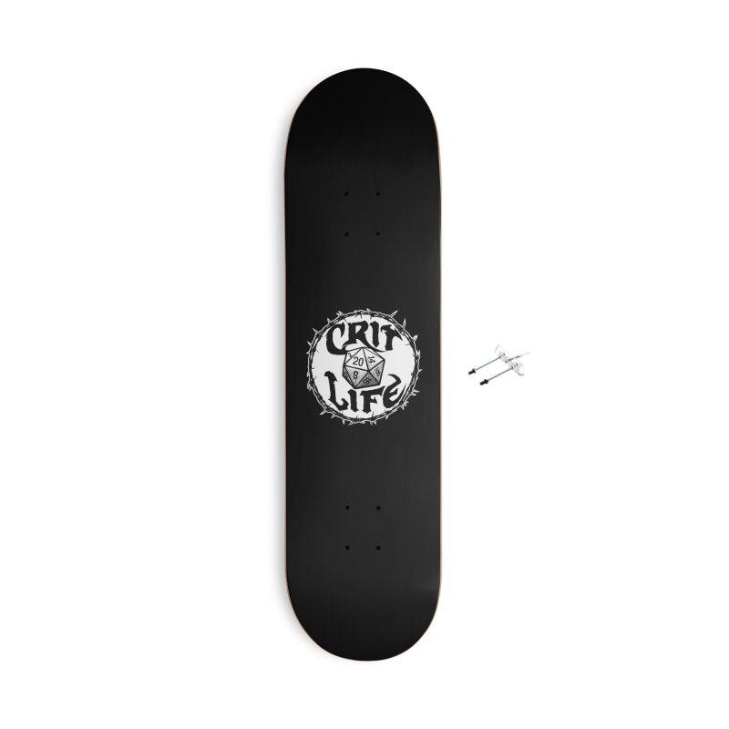 Crit Life (Light on Dark) Accessories With Hanging Hardware Skateboard by Joe Abboreno's Artist Shop