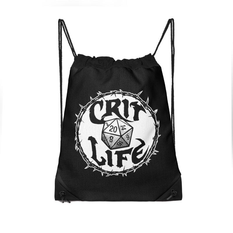 Crit Life (Light on Dark) Accessories Drawstring Bag Bag by Joe Abboreno's Artist Shop