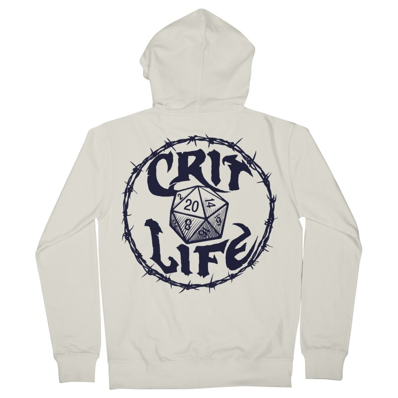 Crit Life (Dark on Light) Men's French Terry Zip-Up Hoody by Joe Abboreno's Artist Shop
