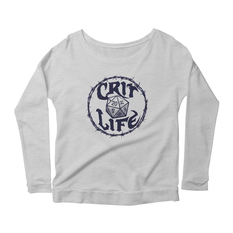 Crit Life (Dark on Light) Women's Scoop Neck Longsleeve T-Shirt by Joe Abboreno's Artist Shop