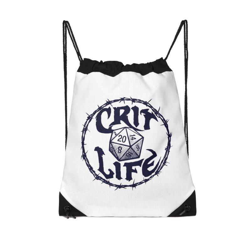 Crit Life (Dark on Light) Accessories Drawstring Bag Bag by Joe Abboreno's Artist Shop
