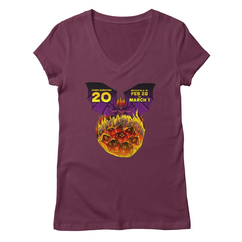Conflagration 20 Official Design Women's Regular V-Neck by Joe Abboreno's Artist Shop