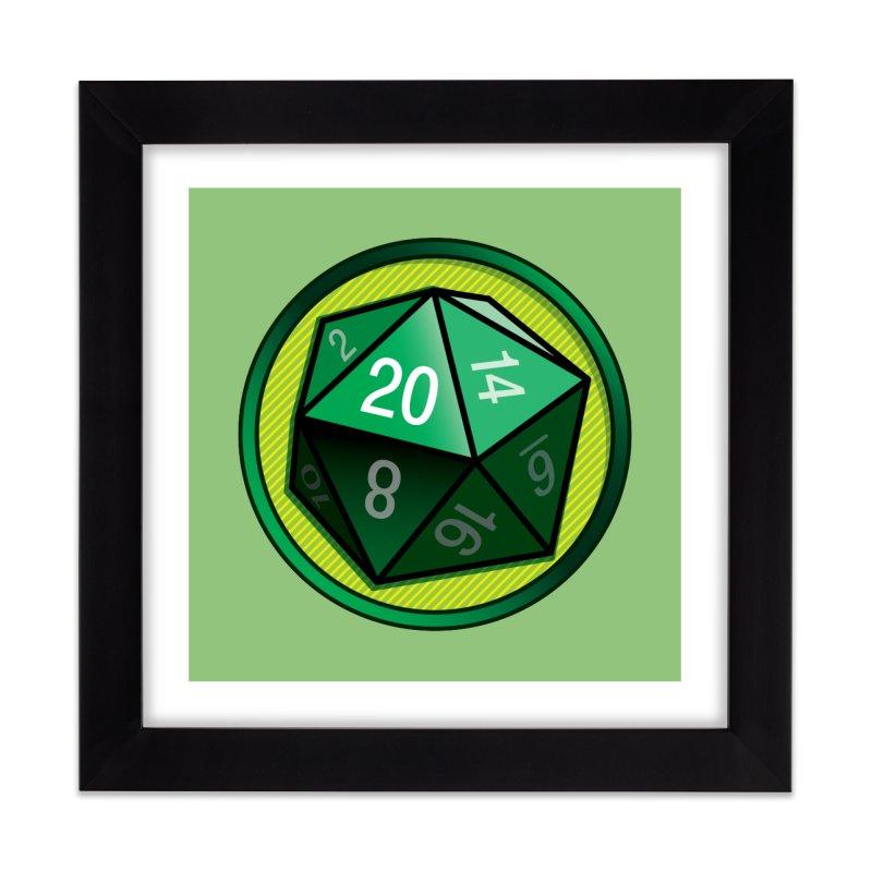 Good Luck Green d20 Home Framed Fine Art Print by Joe Abboreno's Artist Shop