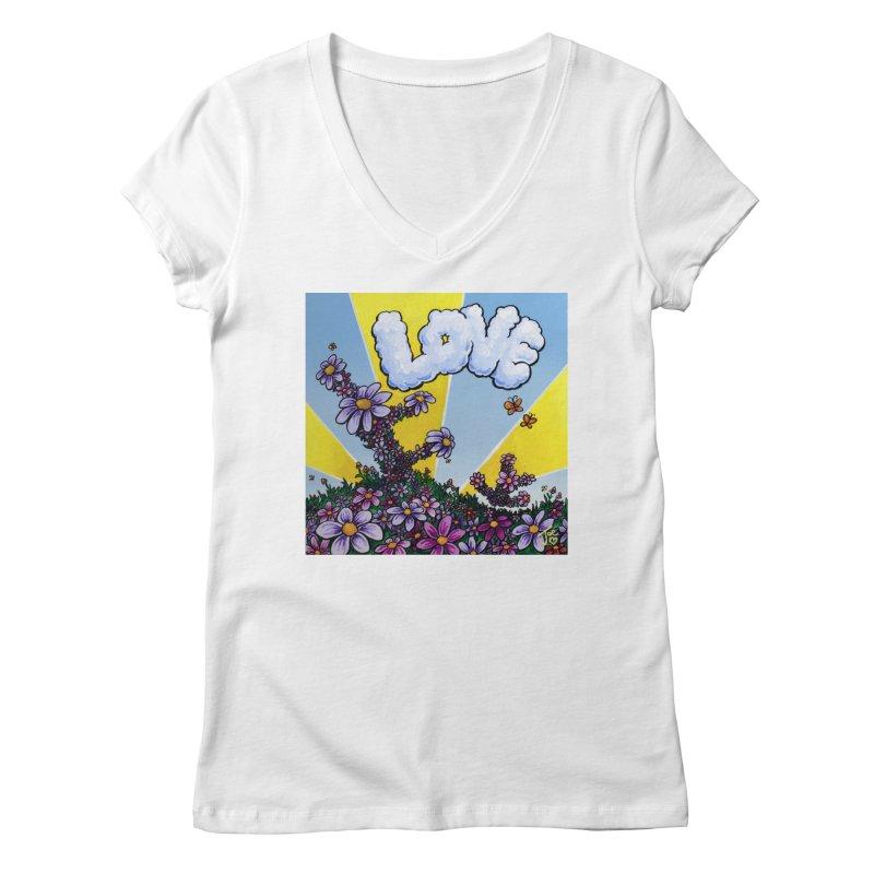 LOVE Women's V-Neck by Joe Abboreno's Artist Shop
