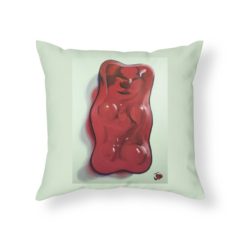 Big Red Gummy Number 1 Home Throw Pillow by Joe Abboreno's Artist Shop