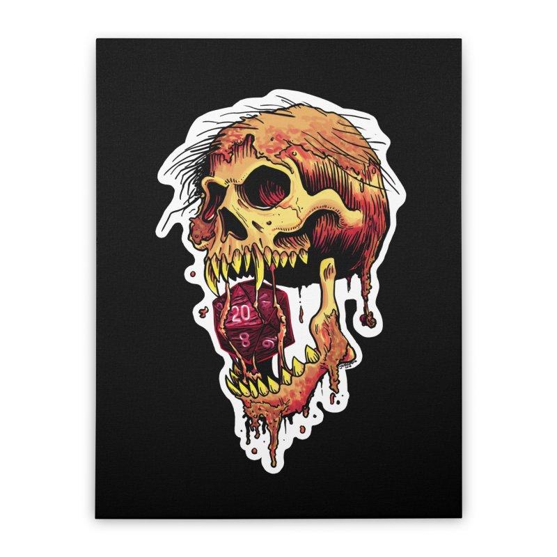 d20 Demon Skull Home Stretched Canvas by Joe Abboreno's Artist Shop