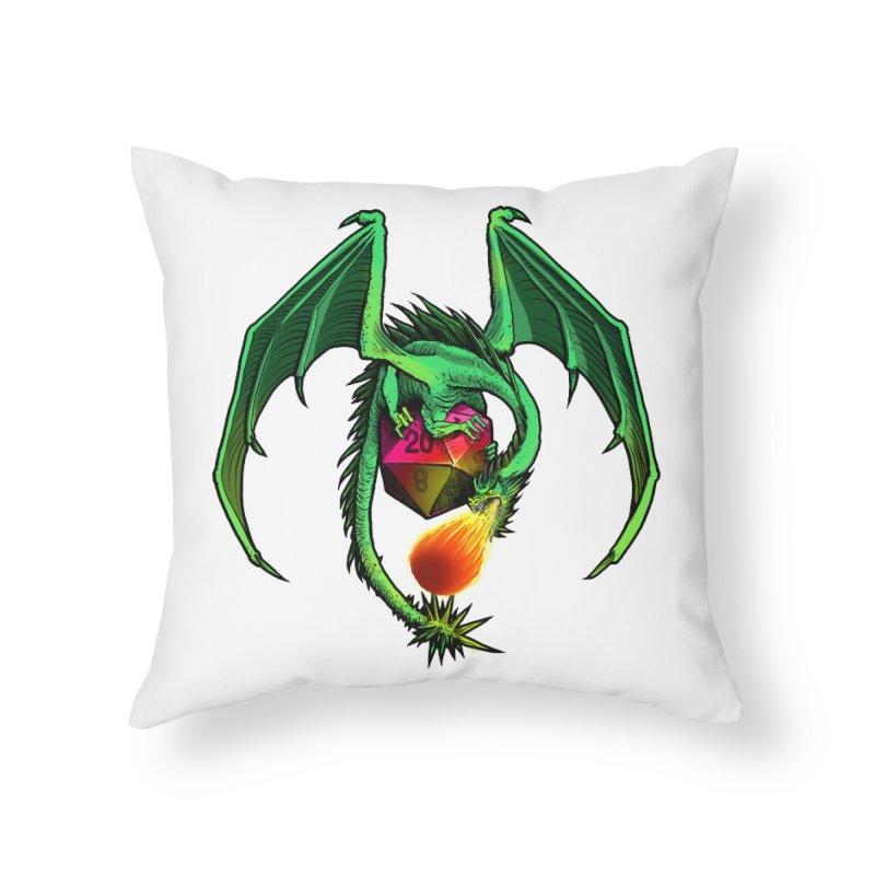 Dragon d20 Home Throw Pillow by Joe Abboreno's Artist Shop