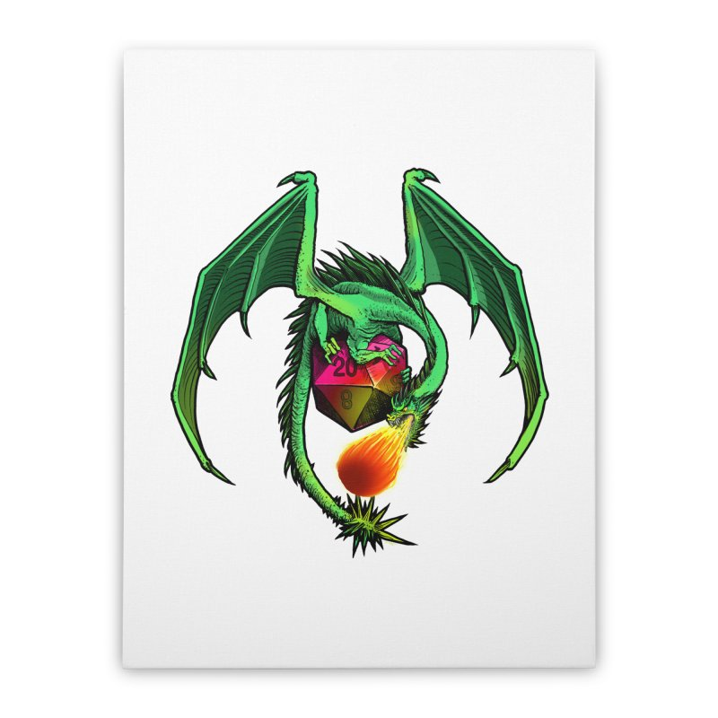 Dragon d20 Home Stretched Canvas by Joe Abboreno's Artist Shop