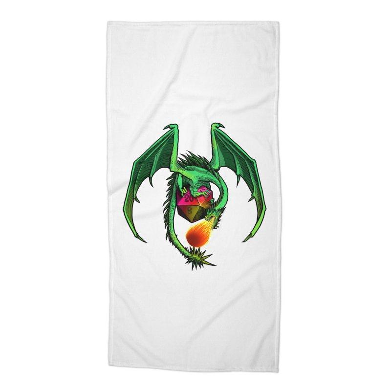 Dragon d20 Accessories Beach Towel by Joe Abboreno's Artist Shop