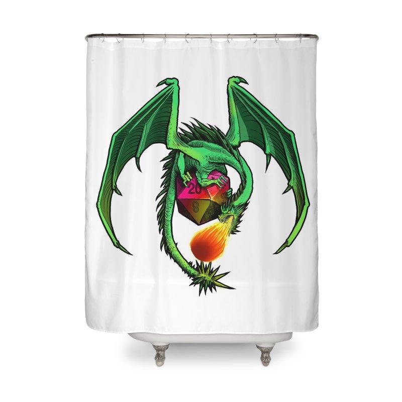 Dragon d20 Home Shower Curtain by Joe Abboreno's Artist Shop