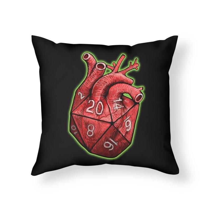 d20 Heart Home Throw Pillow by Joe Abboreno's Artist Shop