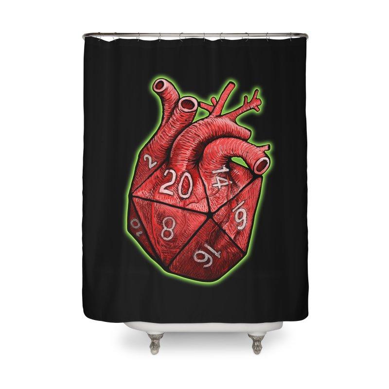 d20 Heart Home Shower Curtain by Joe Abboreno's Artist Shop