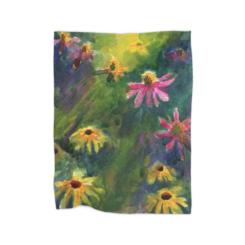 Coneflowers and Black Eyed Susans Home Fleece Blanket Blanket by Joe Abboreno's Artist Shop