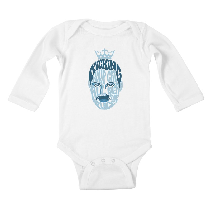 Kicking Your Cat All Over The Place Kids Baby Longsleeve Bodysuit by Joe Conde