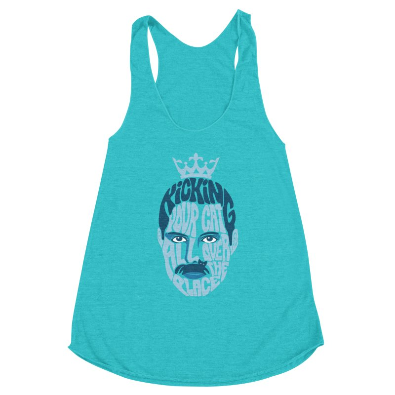 Kicking Your Cat All Over The Place Women's Racerback Triblend Tank by Joe Conde