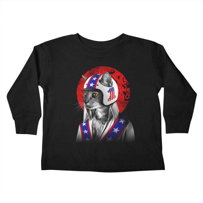Evel Katneivel Kids Toddler Longsleeve T-Shirt by Joe Conde