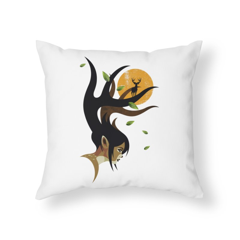 The Doe Home Throw Pillow by Joe Conde