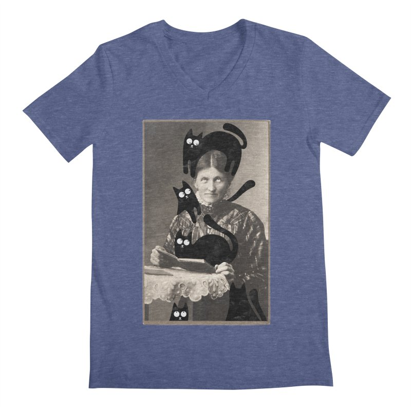 Woes of The  Cat Lady Men's Regular V-Neck by Joe Conde