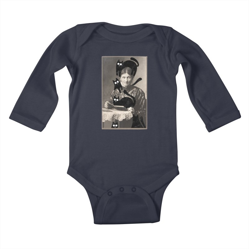 Woes of The  Cat Lady Kids Baby Longsleeve Bodysuit by Joe Conde