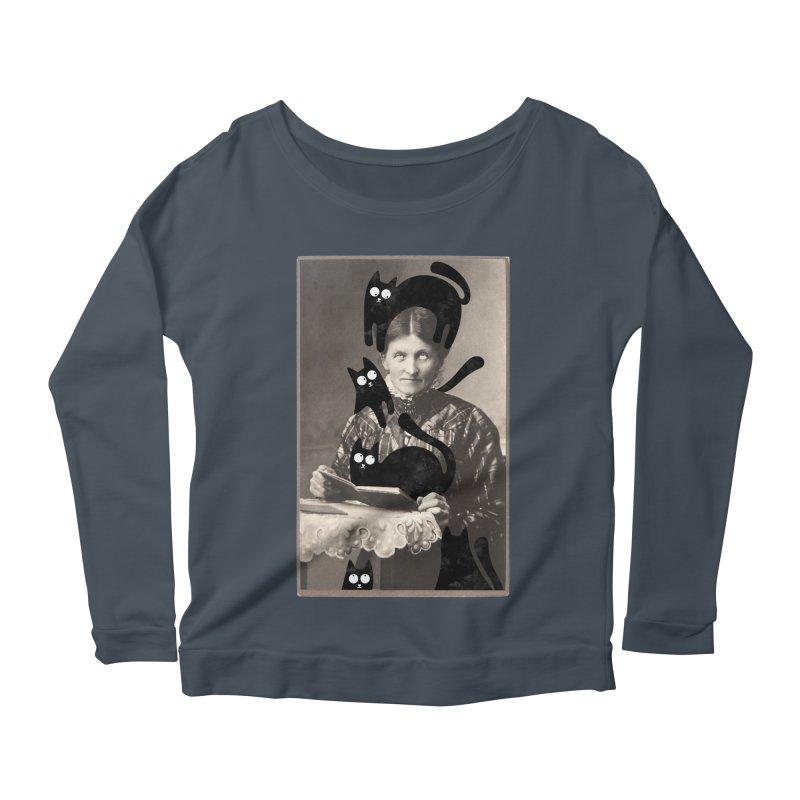 Woes of The  Cat Lady Women's Scoop Neck Longsleeve T-Shirt by Joe Conde