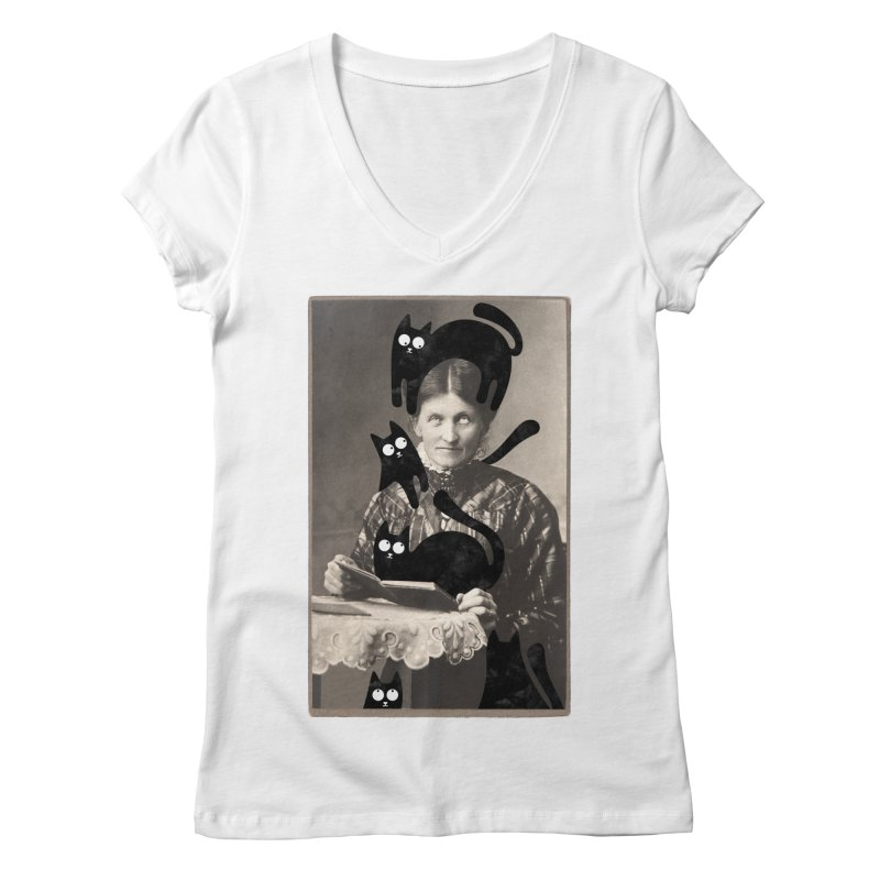 Woes of The  Cat Lady Women's Regular V-Neck by Joe Conde