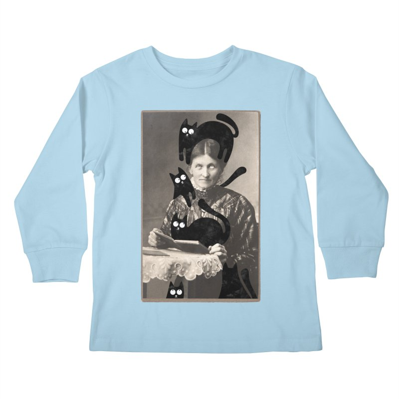 Woes of The  Cat Lady Kids Longsleeve T-Shirt by Joe Conde
