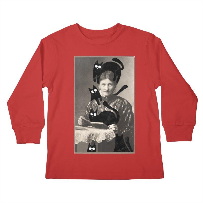 Woes of The  Cat Lady Kids Longsleeve T-Shirt by Joe Conde