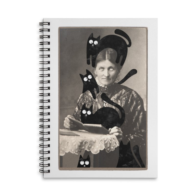 Woes of The  Cat Lady Accessories Lined Spiral Notebook by Joe Conde