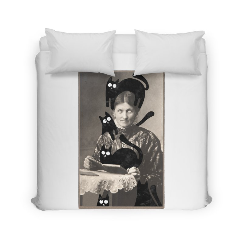 Woes of The  Cat Lady Home Duvet by Joe Conde
